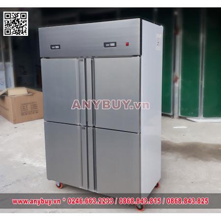 Tủ mát inox 4 cánh với 2 lốc và 2 ngăn độc lập SLLDZ4-900LC