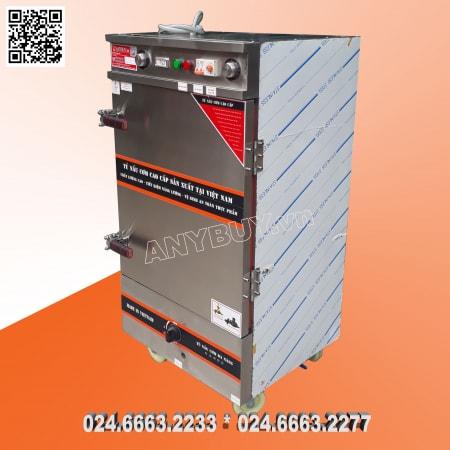 Tủ nấu cơm 8 khay dùng điện aptomat  kết hợp dùng ga khi mất điện