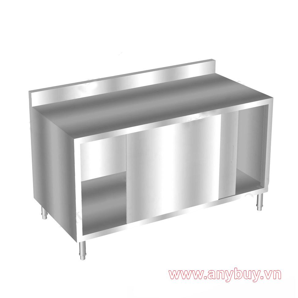 Tủ bàn inox bếp nhà hàng cánh cửa lùa có ngăn giữa