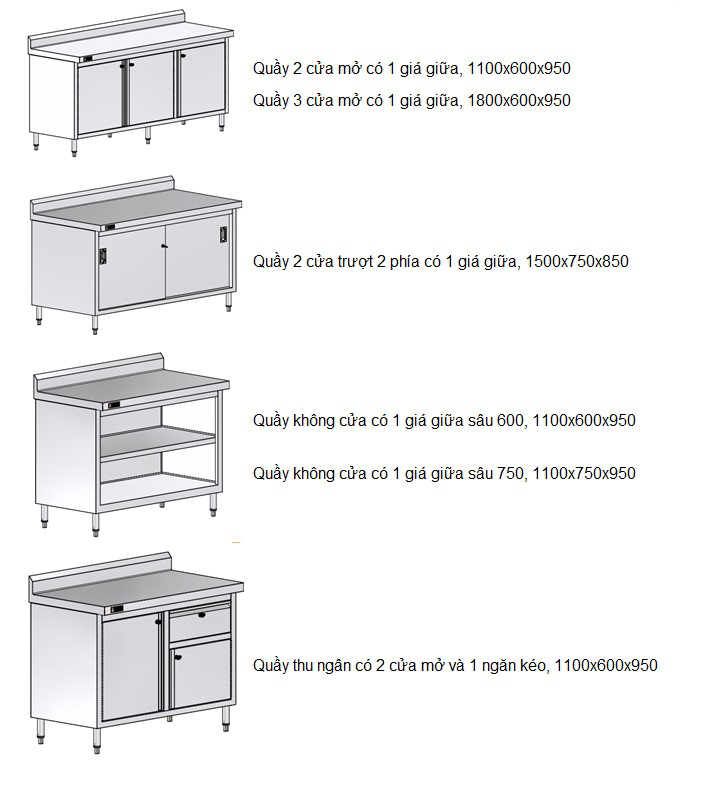 Một số mẫu tủ bàn inox thông dụng