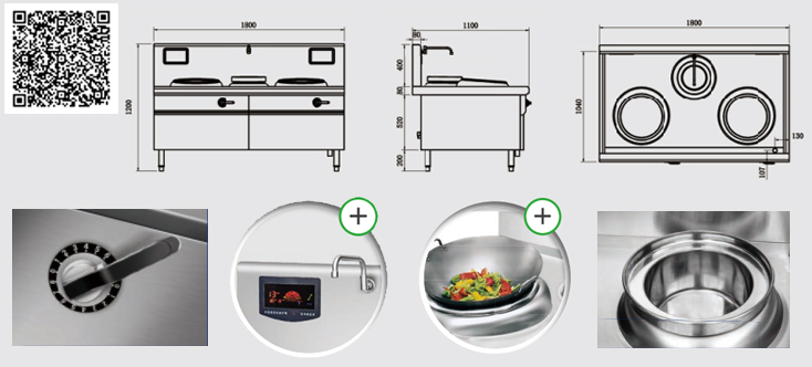 Thông số kỹ thuật Bếp từ công nghiệp YS-40XC-2 công suất 15KWx2