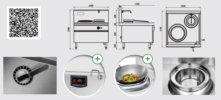 Thông số kỹ thuật Bếp từ công nghiệp YS-40XC công suất 8KW