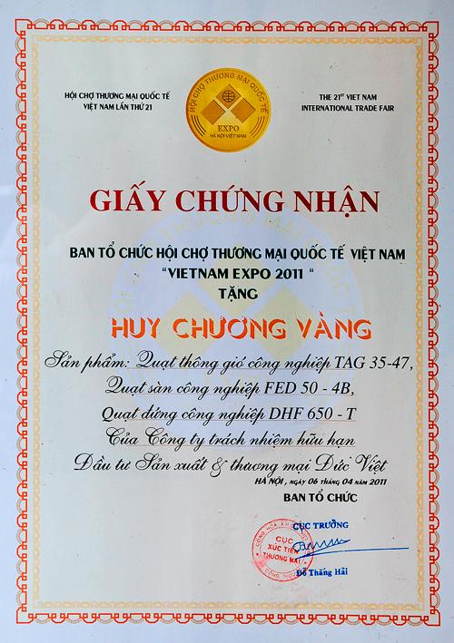 Giấy chứng nhận Vietnam Expo 2011