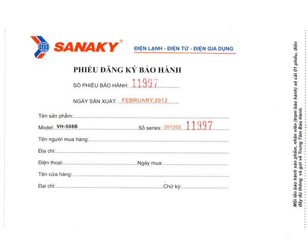 Phiếu bảo hành Sanaky