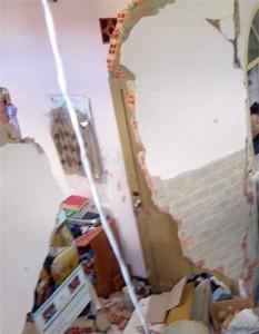 Bức tường của một gia đình ở Đà Lạt bị sập vụn do bình gas tủ lạnh phát nổ