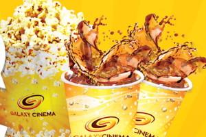 Banner quảng cáo đồ ăn và nước uống tại rạp Galaxy