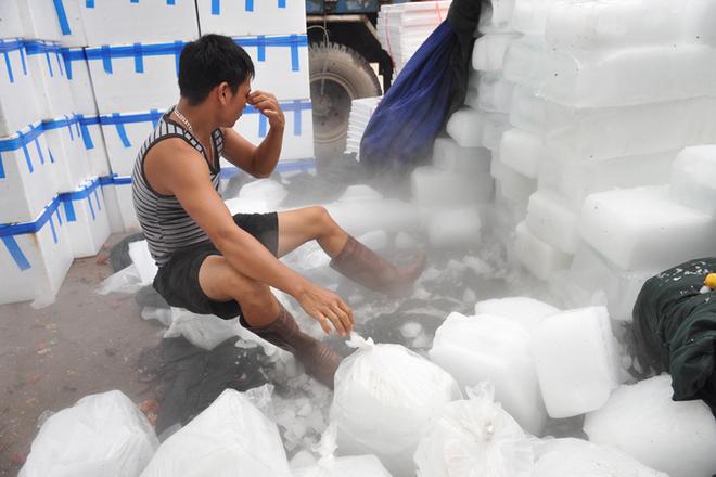 Công nhân vận chuyển đá lạnh