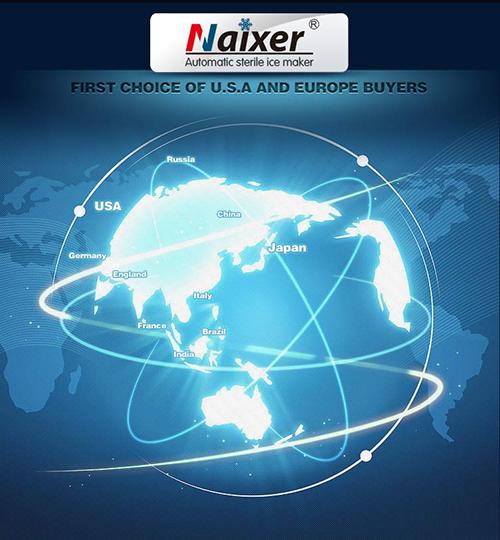 Máy làm đá Naixer phân phối trên hệ thống khắp năm châu