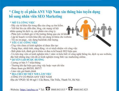 Thông báo tuyển dụng nhân viên SEO Marketing