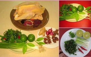 Nguyên liệu chuẩn bị cho món phở gà