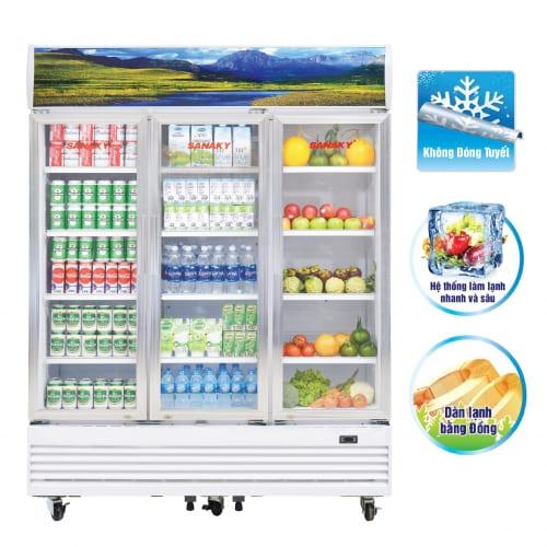 VH-1520HP Tủ mát sanaky 3 cánh dung tích 1500L, dàn lạnh ống đồng. Trưng bày sữa, nước uống và hoa quản siêu thị, bách hóa, ...